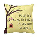 TYYC New Year Gifts for Home, Printed Happy Home Cushion Covers 12X12 inches Single, Home decorative items for bedroom, living room