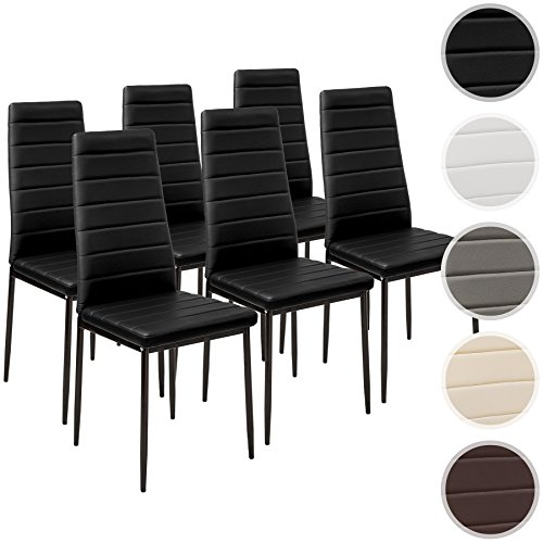 TecTake Set de 6 sillas de comedor 41x45x98,5cm negro