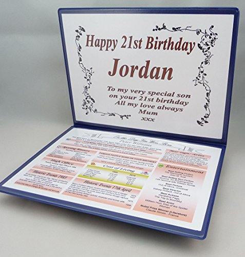 NWM-Gifts PERSONAL 21st BIRTHDAY GIFT – THE DAY YOU WERE BORN – KEEPSAKE