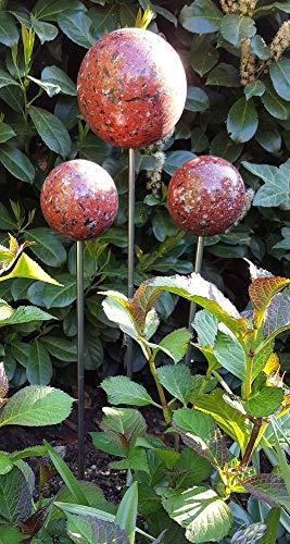 garten-wohnambiente Rosenkugel 3er Set 15-10-10 cm Edelstahl Granit rot Dekokugel mit Stab 80 cm