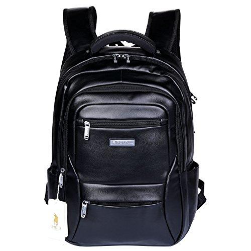 POLO VIDENG Lederrucksack Leichte Reise-Rucksack School Bookbag zum 17 Zoll Laptop (Schwarz-bvl) (Schwarze Trainer-laptop-tasche)