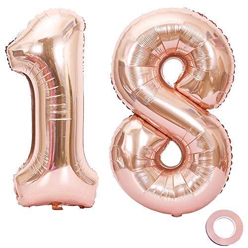 l 18 Rosegold Geburtstag Folienballon Helium Folie Pinke Luftballons für Geburtstag Jubiläum 40 Zoll - Riesenzahlen #18 ()