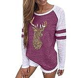 Kltipeng Womens Blouses Festival Christmas Womens Reindeer Blouses T-Shirt Xmas Long Sleeve Tops(EU-36/CN-M, Rosa)