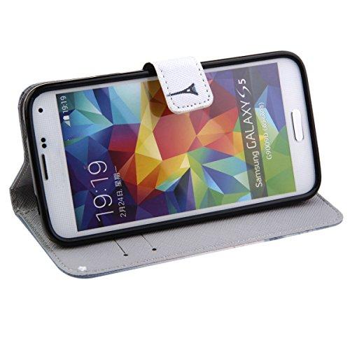 Coque pour Samsung Galaxy S5 Mini, ISAKEN Élégant Style PU Cuir Flip Magnétique Portefeuille Etui Housse de Protection Coque Étui Case Cover avec Stand Support pour Samsung Galaxy S5 Mini (#24) #1