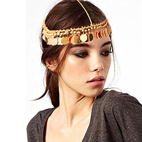 Quasten Kopf Kette für Frauen Mädchen   Pailletten Bohemian Quaste Kopfkette Haarschmuck   Schmuck Kette Stirnband Glänzend Stück Haarband   Legierung Kopf Stück   Bridal Kopfschmuck---- (Gold)