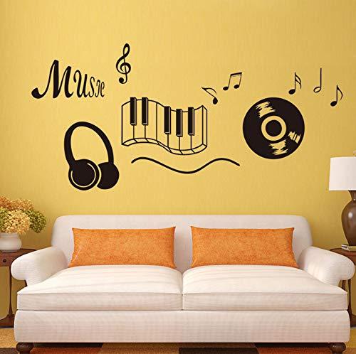 er Kopfhörer Thema Musik Schlafzimmer Dekor Tanzen Musik Note Removable Wall Sticker ()