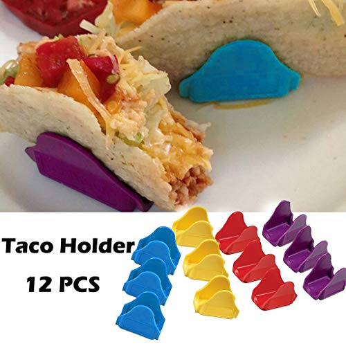 HLHN Taco-Halter in Wellenform - 12 Stück pro Set prähistorische Lebensmittelhalter Ständer Ständer für Pie, Gebäck, Pizza, Sandwiches, Brot, Hot Dogs, Pfannkuchen Party S mehrfarbig Pie-halter