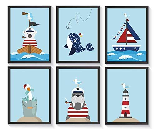 Bilder maritim Kinderzimmer | Kinderposter Wal | 6 Kunstdrucke | A4 Kinderbilder | Poster Set | ohne Bilderrahmen