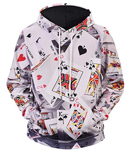 sual Kapuzenpullover Aufdruck Pulli Motiv Hoodie Tierdruck Sweatshirt Streetwear Pullover mit Kapuzen Herrenhemd (L (Brustumfang: 115CM), Kartenspiel) ()