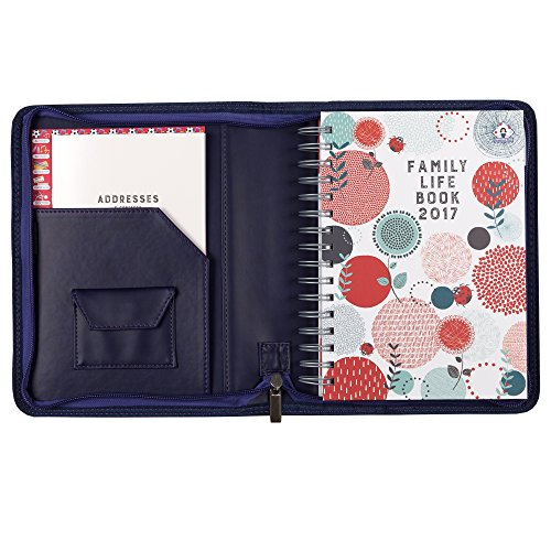 2016/2017 Organised Mum Family Life Book diary in a faux leather cover. A5 family organiser. Flexible diary layout with seven columns. Academic diary (runs mid-August '16 until December '17). Week-to-view with large spaces for each day and useful organisational features (Purple Velvet)