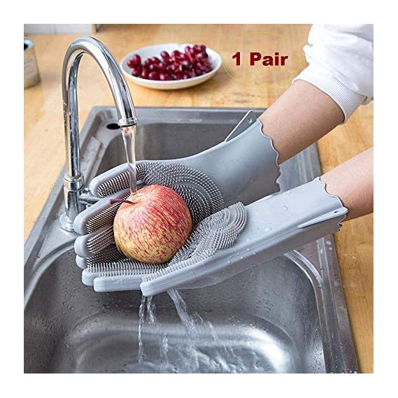 SCILLA Kitchen Magic Gloves for Dishwashing Rubber Dish Washing with Brush Cleaning Scrubber - 1 Pair (Multi Colour)