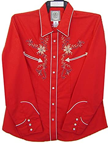 Modestone Women's Embroidered Long Sleeve Western Chemise Floral Rhinestones Red L