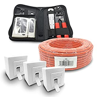 ARLI CAT 7 50m Verlegekabel Netzwerkkabel CAT.7 + 3X Netzwerkdose Cat6a + 1x Werkzeugset Crimpzange Abisoliermesser Tester Werkzeug Set 4 in 1 Netzwerkinstallation Telefoninstallation Dose