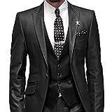 GEORGE BRIDE Herren Anzug 5-Teilig Anzug Sakko,Weste,Anzug Hose,Krawatte,Tasche Platz 002,schwarz XL