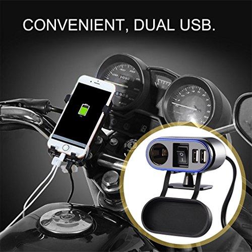 Zigarettenanzünder,LESHP Motorrad Zigarettenanzünder Auf Zigarettenanzünder 3 in 1 USB Aufladensystem mit Doppel USB Hafen, Wasserdichtes, Wiederaufladbares für Smartphone, Einfache Installation