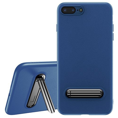 Apple iPhone 7 Case, Baseus Happy Watching supporting Series Apple iPhone 7 Kickstand Case Metal Back Holder Bracket Shockproof soft TPU border shock absorption & anti-fall Protective Defender Leather Case Cover for Apple iPhone 7 (Colour - Blue)