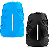 LAMA 2pcs Waterproof Rain Cover for Backpack, Reflective Rainproof Protector for Anti-dust and Anti-Theft S 18L-25L Black Blue