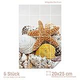 Graz Design 761040_20x25_50 Fliesenaufkleber Fliesen für Küche Für Bad Deko Fliesenbild Seestern Muscheln (Fliesenmaß: 20x25cm (BxH)//Bild: 50x75cm (BxH))