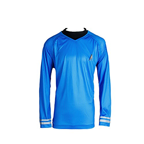 Original Kostüm Trek Uniform Star Serie - Manfis TOS The Original Series Spock Blue Shirt Uniform Cosplay Kostüm