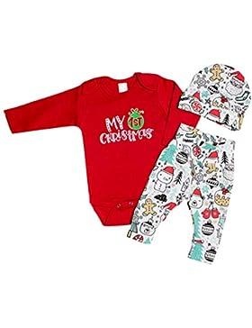 Baywell Baby Jungen Mädchen Strampler Set, 1. Weihnachts-Outfit Set Roten Strampler + Hut + Hose