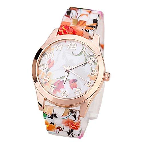 Armbanduhr Damen Ronamick Frauen Mädchen Uhr Silikon gedruckte Blumen kausale Quarz Armbanduhren Armbanduhr Armband Uhr Uhren (D)