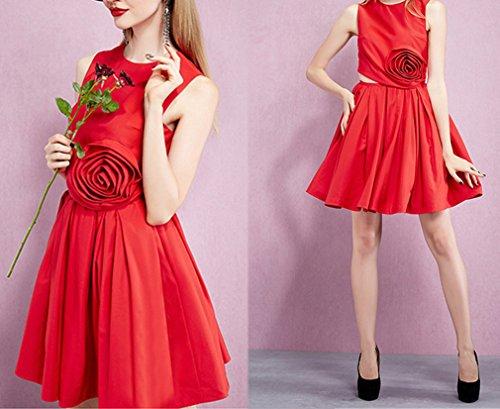 Smile YKK Robe Cérémonie Femme Sans Manche Soirée Mariage Elégant Mode Rouge