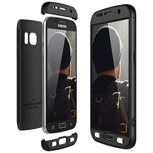 Ce-link cover samsung galaxy s7 360 gradi full body protezione, custodia galaxy s7 silicone rigida snap on struttura 3 in 1 antishock e antiurto, samsung s7 case antigraffio molto elegante - nero