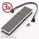 AZDelivery ⭐⭐⭐⭐⭐ 3 x MAX7219 8x32 4 in 1 Dot Matrix LED Anzeigemodul für Arduino mit gratis eBook!