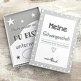 mintkind Meilensteinkarten Schwangerschaft grau/weiß