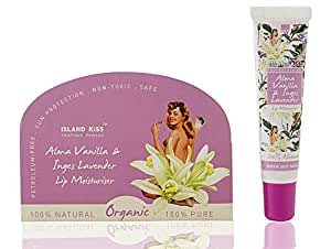 Island Kiss, 100% Natural, Organic Lip Balm, Moisturiser & Tint With SPF 15, Alma Vanilla & Inges Lavender, 14g