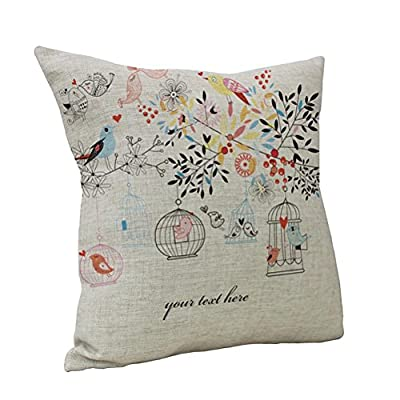 Nunubee Linen Bird Throw Pillow Case Sofa Cushion Cover Home Decor - cheap UK cushion shop.