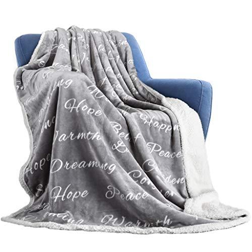 Coperta di pile per letto e divano grigio 150x200cm,coperta matrimoniale di sherpa e flanell microfibra morbida,grigio