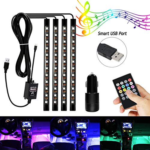 AMBOTHER 4 X 12 LED Auto LED Interni Kit, Multicolore Luci Kit Set Con Sound Active Funzione Telecomando Wireless USB Dual Port