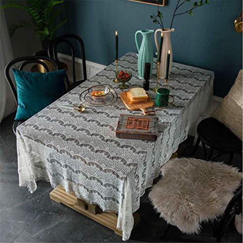 SONGHJ Ländlichen Spitze Rechteckigen Weiß Tischdecke Kaffee Tisch Schreibtisch Hochzeit Garten Schutz Abdeckungen Tisch Tuch G01 150x260cm (Grau-kaffee-tisch)