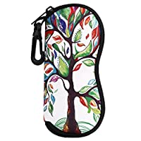 MoKo Eyeglass Soft Case, Zippered Neoprene Sunglasses Pouch w/Clip - Lucky Tree