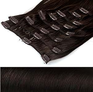 Clip In Extensions Haarverlängerung XXL Haarteile Set glattes Haar in 50 cm Laenge #4 braun