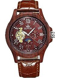 SEWOR reloj para hombre Tourbillon automático Full marrón grano de madera caso fase de la luna esfera mecánica reloj de pulsera