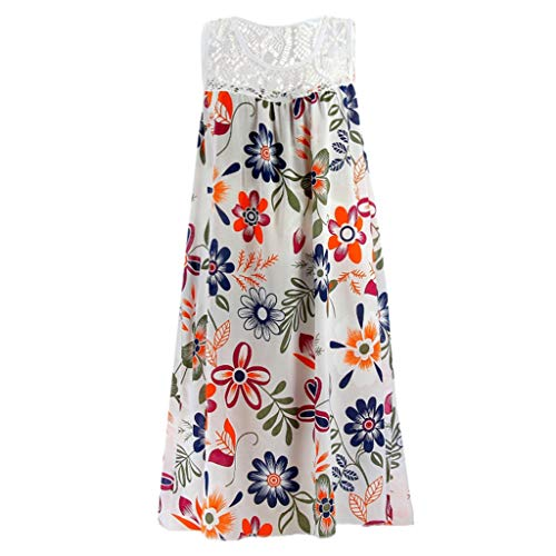 AIni Damen Sommerkleid Mode Lässig Rundhals Kleid Elegant ärmelloses Minikleid Blumendruck Festlich Partykleid - Mieder Rock Seide