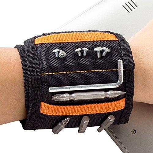 Magnetisches Armband - extrem stark: Nagel Schrauben Werkzeug schnell griffbereit. 1a Geschenk für Männer. Kein lästiges Bücken und Suchen. Magnetarmband als praktische Handwerker Gürtel Tasche.