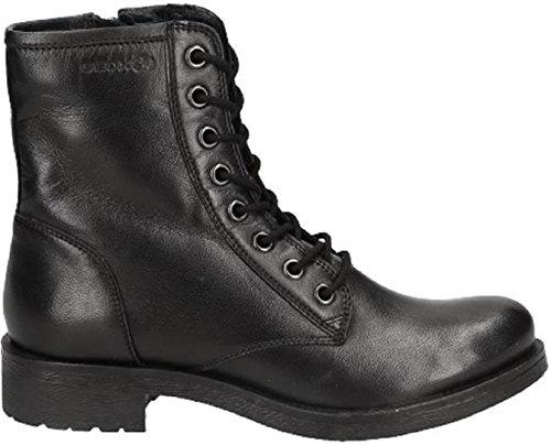 Geox D746RB Rawelle Modischer Damen Leder Stiefel, Biker Boot, Schnürstiefel, Ankle Boot, atmungsaktiv, Reißverschluss schwarz (Black), EU 37
