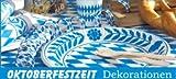 94-teiliges Oktoberfest Partyset Bayrisch Blau Weiss Dekoration Bayern