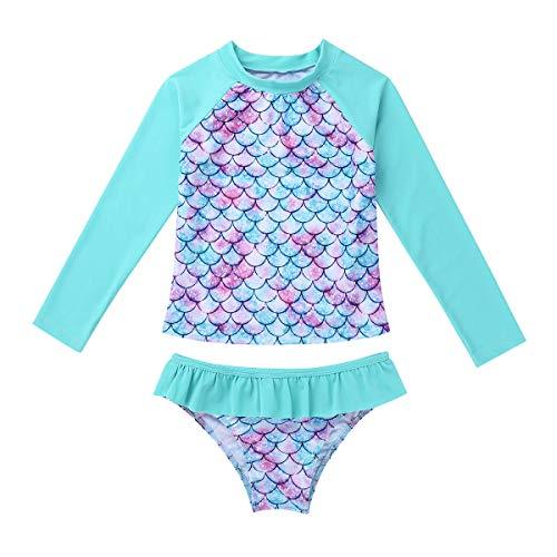 Iiniim Traje de Baño de Protección Solar UPF 50+ UV Niña Bañador Sirena Escamas Camiseta Manga Larga...