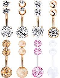 8 Pièces Anneaux de Nombril 14 G Anneaux de Nombril de Femmes en Acier Inoxydable Haltère Bijoux Piercing de Corps avec 8 Pièces Balles de Rechange (Or Rose)