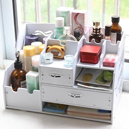 MFFACAI Desktop-Aufbewahrungsbox Holz-Finishing-Box Datenrahmen Verdickung Bücherregal mit Schublade Datei Rack Home Office Regale, 37 * 23 * 24cm, White (Datei Schublade Bücherregal)