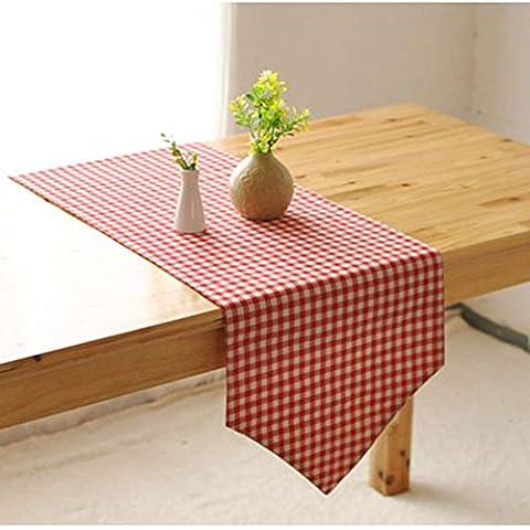 Memorecool Drapeau de table/chemin de géométrie Motif Coton 30,5x 180,3cm Carreaux Café, Coton, check2, 12x87inch