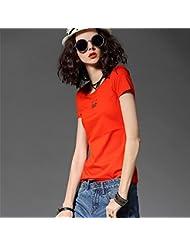 Heart&M Ronda de las mujeres del cuello de manga corta casual color sólido de metal decoración de algodón mercerizado camiseta tops Las camisetas . s . orange red