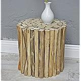 De madera maciza Taburete mesa de casa marrón lateral Holzhocker Urbana (ronda)