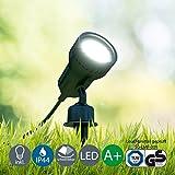 LED Außenleuchte, Außenstrahler, Außenleuchte, Außenlampe, Terrassen Beleuchtung, Gartenleuchte, Gartenlampe, Gartenspieß, Erdspieß, Außenbeleuchtung, warmweiß, schwenkbar, schwarz, B x H 10 x 19,5 cm