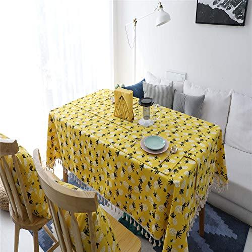NQING Baumwolle Und Leinen Tischdecke Einfachen Stoff Tischdecke Ananas Quadrat Rechteckige Weihnachtsdekoration Tischdecke A 60x60cm