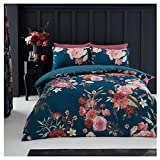 Lions Luxury Flora Teal King Duvet Cover Quilt Printed Polycotton Bedding Set With Pillow Cases
